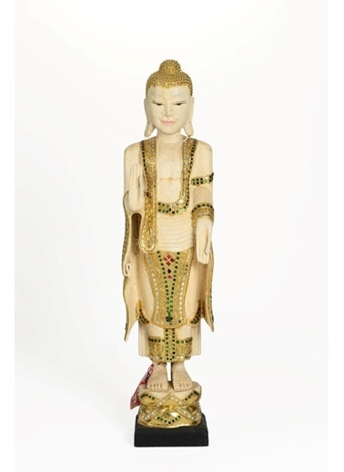 Catit Ahşap El Yapımı Huzuru Her Yerde Bulabileceğinizi Simgeleyen Duruşu Buda Heykeli Biblo 80 Cm Renkli